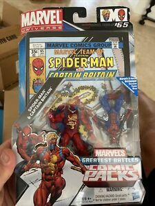 Marvel Comic Packs SPIDER-MAN And CAPTAIN BRITAIN Figures W/Comic Team-Up #65