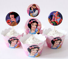 24pcs Snow White 12 Wrappers +12 Cupcake Cake Toppers Kids Girls Birthday Party