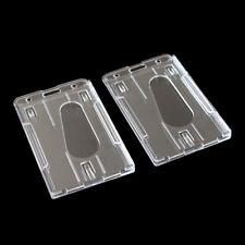 2pc Hard Plastic Badge Holder Double ID Card Transparent Vertical Card Holder