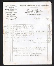 "TORTERON (18) BOIS de CHARPENTE & de CHAUFFAGE / SCIERIE ""Joseph PORTE"" en 1897"
