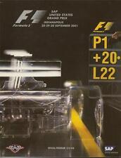 2001 Formula-1 United States Grand Prix Program F-1 f1 Mika Häkkinen