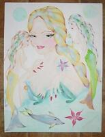 MERMAID ARTISTIC NUDE STARFISH DOLPHIN ART DECO NOUVEAU STUDY PASTEL PAINTING