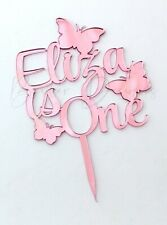 Personalised Name is age Butterfly Birthday Cake Topper Coloured Acrylic Mirror