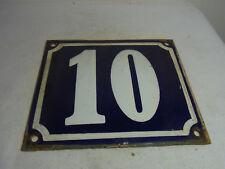 Vintage German Enamel & Iron Sign Blue House 10  #A