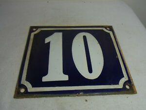 Vintage German Enamel & Iron Sign Blue House 10  #A