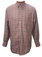 Peter Millar Mens Button-Down Shirt Long Sleeve Red Black Plaid Size Medium