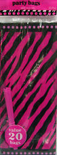 ZEBRA STRIPES Pink and Black FAVOR BAGS (20) ~ Birthday Party Supplies Treat