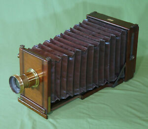 Extremely Rare G. Hare New Patent Whole Plate Mahogany Brass Camera c. 1880