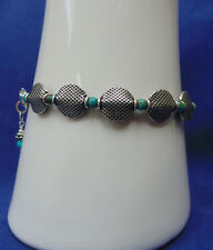 """A 'MUST HAVE' BLUE/GREEN TURQUOISE AND .925 BALI STERLING SILVER 7 3/4"""" BRACELET"""