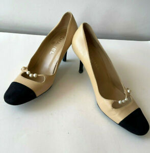 Chanel Two Tone Cap Toe Spike Heels with Pearl Beads Sz 36 / US 6 True Originals