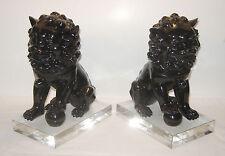 PAIR Foo Dog Zen Statue Figurine Bookend Hollywood Regency Gift Feng Shui