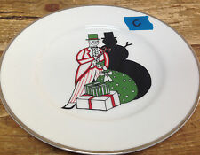Williams Sonoma Vanity Fair Christmas Dessert Plate Blk Snowman Shadow Bag Toy C