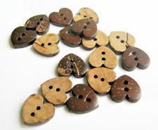 5 Botones de Corazón de Coco 15 mm 2 agujero Flatback Coser Tejer Artesanía Reino Unido Vendedor