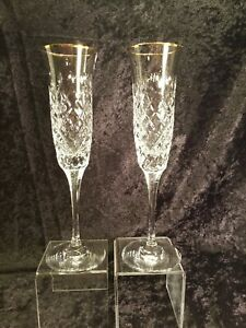 (2) Mikasa Champagne Fluted Crystal Glasses --Imperial