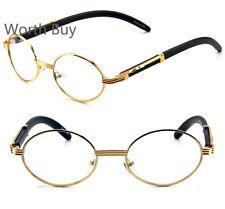 New Men Women Wood Oval Designer Clear Lens Gold Frame Eye Glasses Retro Vintage