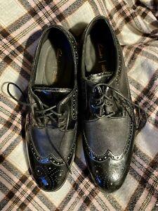 Clarks Cushion Plus Mens Black Leather Brogues Shoes UK 10 G