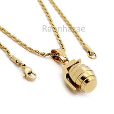 "MEN GOLD STAINLESS STEEL GRENADE PENDANT HIP HOP 24"" ROPE CHAIN NECKLACE DD020"