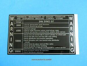 FERRARI DINO 246 GT WARNING PERIODICAL SERVICE MAINTENANCE DECAL 110 x 69 mm