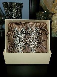 L'OBJET Platinum Plated Swarovski Crystal Bow Napkin Holders 4pc In Box