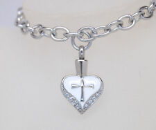 White Heart w/ Cross Cremation Urn Bracelet || Rolo Link Style || Engraveable