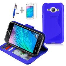 BLUE Wallet 4in1 Accessory Bundle Kit TPU Case Cover F Samsung Galaxy J1 J100Y