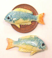 1:12 Scale 2 Fish For A Dolls House Miniature Kitchen Or Shop Food Accessory ZD