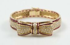 18k Yellow Gold Diamond & Ruby Bow Bangle Bracelet TDW = 9 ct, TRW = 12 ct