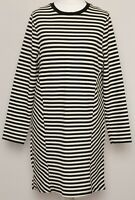 TOPSHOP Black White Striped Long Sleeve Smart Knitted Jumper Shift Dress Size 10