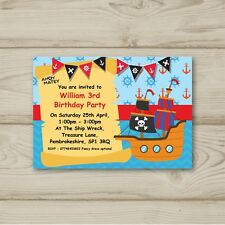 Pirate Ahoy Matey Birthday Party Invitations Personalised