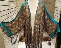 Plus size Floral KImono Women's Duster Fringe 3/4 Sleeve Brown,Teal boho NWT
