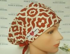 PASSION  RED   / PIXIE HAT  SCRUB / SURGICAL/ PONYTAIL/ CAPS CHEMO/NURSES