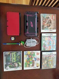Nintendo 3DS XL Red and Black Mario 3D Land Luigi's Mansion Bundle Nerf Case