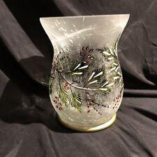 YANKEE CANDLE Winter Berries Crackle Glass Hurricane Jar Candle Holder