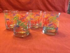 Set of 4 Multi Color Coca Cola Double Old Fashion Glasses