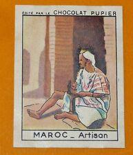 CHROMO MAROC N°34 ARTISAN CHOCOLAT PUPIER AFRIQUE 1938-1950