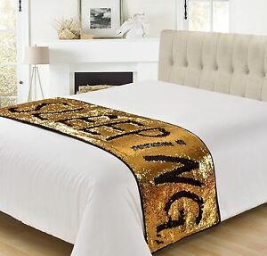 Magic Sequin Two Tone Colour Change Mermaid Bed Throw Runner Gold, Silver, Pink