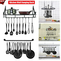 Wall Mount Pot Pan Hanging Rack Kitchen Cookware Storage Organizer Holder w/Hook