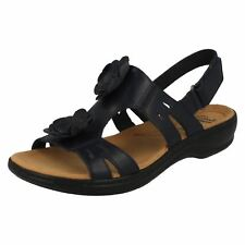 aa9b64f0bad Clarks Womens Leisa Claytin Navy Leather T Bar Floral Trim Slingback Sandals  UK 7.5