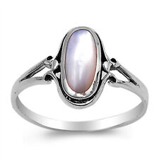 Vintage Style 925 Sterling Silver White Mother of Pearl MOP Shell Ring