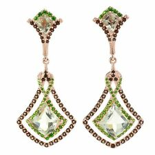 "Victoria Wieck Collection 1.75"" 9.70ctw Prasiolite & Gemstone Drop Earrings"