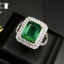 WOW 2.98TCW Natural Emerald VS Diamond 18k solid white gold ring Engagement Halo