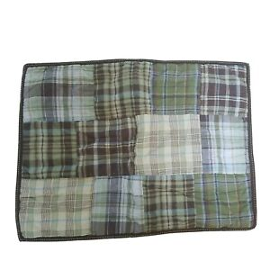 2 Pottery Barn Kids Pillow Sham Plaid Quilted Green Multicolors