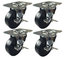 "4"" x 1-5/16"" Hard Rubber Wheel Caster - 4 Swivels with Brake"