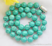z5983 10mm green round turquoise bead necklace 17inch
