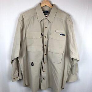 ExOfficio Mens Button Down Shirt Fishing Camping Outdoor Activities XXL Pockets