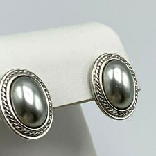 Vintage Yves St Laurent Silver Tone Earrings Gray Oval Pierced Stud Post YSL