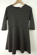NWT ONE CLOTHING Black & Gray Zigzag Print Cutout Back Fitted Dress Size Large