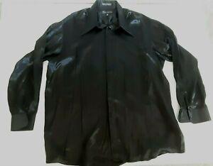 Damante Couture Collection Shiny Black Long Sleeve Shirt Spear Collar 2XL - 18