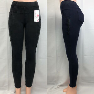 Women Pull Up Embroidered w Bling Bling Stone Pockets Skinny Jeans Pants #983
