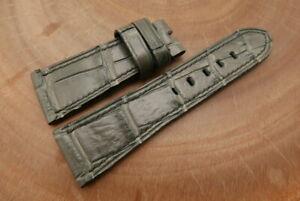 27mm/22mm Gray Genuine CROCODILE,ALLIGATOR Leather Watch Strap Band forPanerai